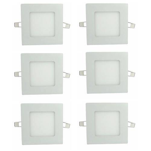 Luminária Painel Led Plafon de Embutir Quadrado 3W Branco Quente Kit 6