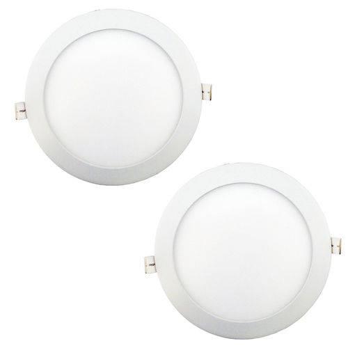 Luminária Painel Led Plafon de Embutir Redondo 18w Branco Frio Kit 2