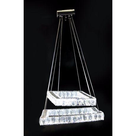 Luminária Pendente de Cristal 2 Quadrados 62cm e 42cm