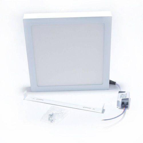 Luminária Plafon Led 25w Sobrepor Quadrado Branco Frio