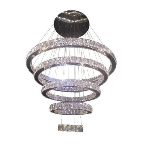 Lustre Pendente Led Cristal K9 5 Anéis com Controle Remoto - Dubai Ref:7201-28a