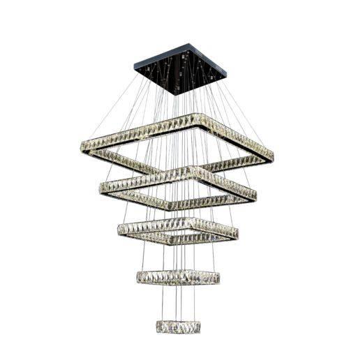 Lustre Pendente Led Cristal K9 5 Quadrados Controle Remoto - Barém Ref:7220-28a