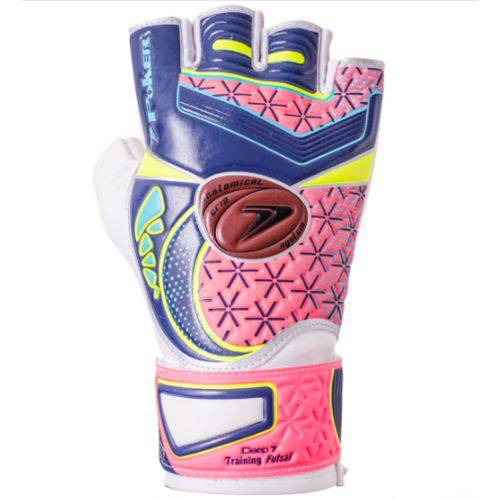 Luva de Goleiro Poker Futsal Deep 7 Training - Azul/pink