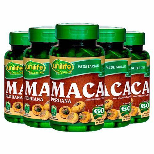 Maca Peruana com Vitaminas - 5 Un de 60 Cápsulas - Unilife
