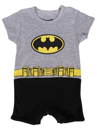 Macacão Batman Infantil para Bebê Menino - Cinza/preto