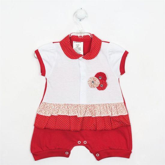 Macacão Bebê Feminino Curto Babado Vermelho-M