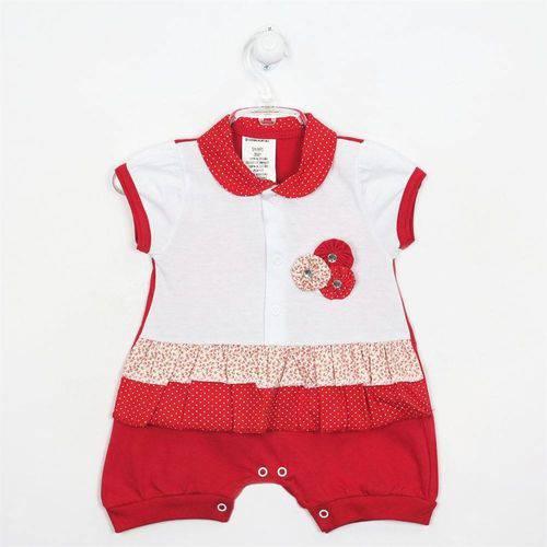 Macacão Bebê Feminino Curto Babado Vermelho