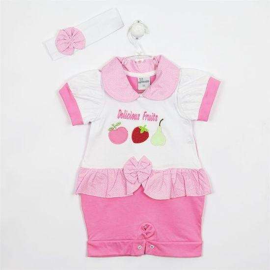 Macacão Bebê Feminino Curto Faixa Branca-Branco e Rosa-G
