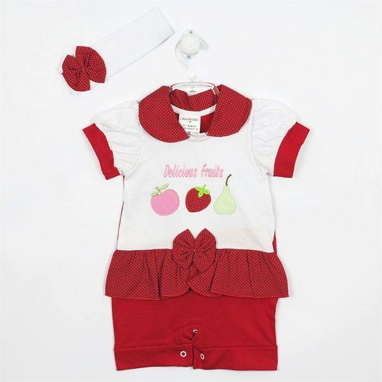 Macacão Bebê Feminino Curto Faixa Branca-Branco e Vermelho-P