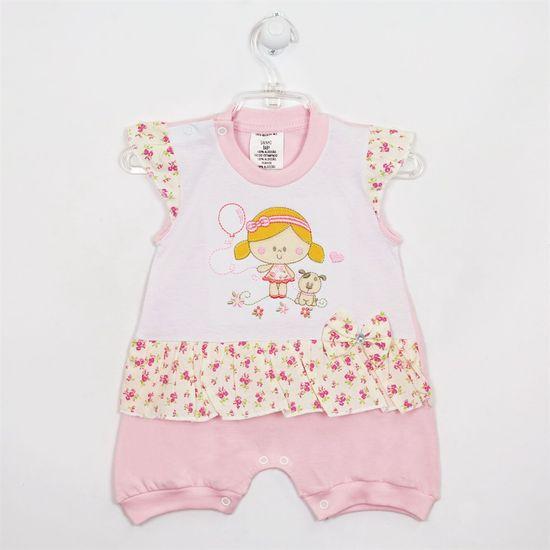 Macacão Bebê Feminino Curto Floral Menininha Rosa-P