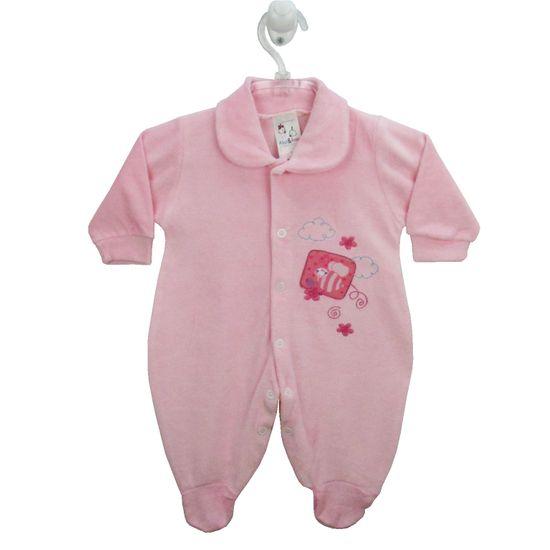 Macacão Bebê Feminino Longo Plush Bordado Rosa Abelha -RN