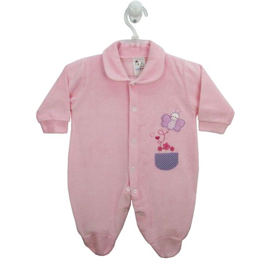 Macacão Bebê Feminino Longo Plush Bordado Rosa Borboleta-M