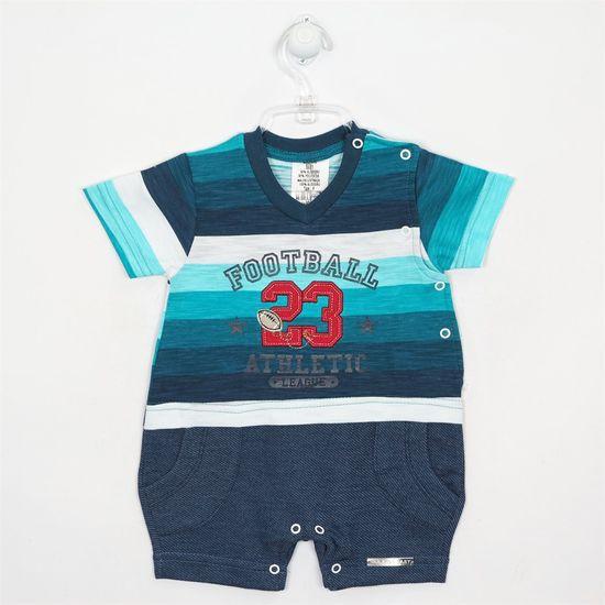 Macacão Bebê Masculino Curto Listrado Azul-P