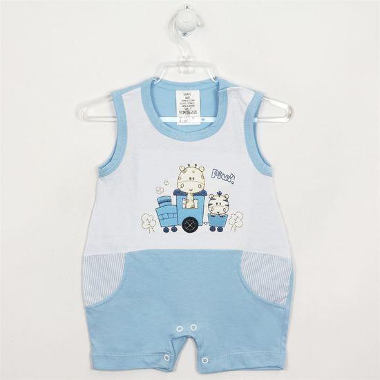Macacão Bebê Masculino Curto Regata Girafinha Azul Claro-P