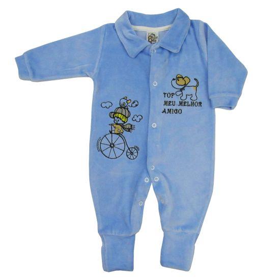 Macacão Bebê Masculino Longo Plush Azul Claro Bordado-P
