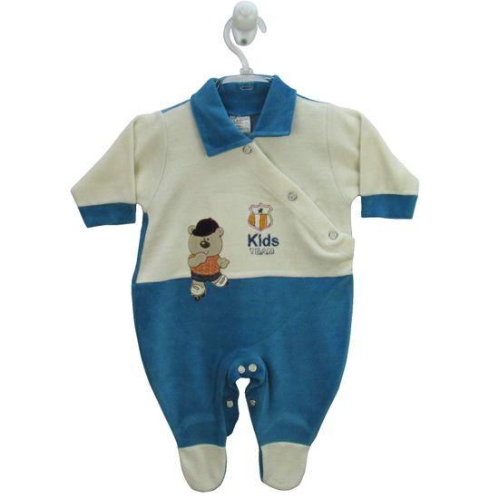 Macacão Bebê Masculino Longo Plush Creme e Azul Turquesa-RN