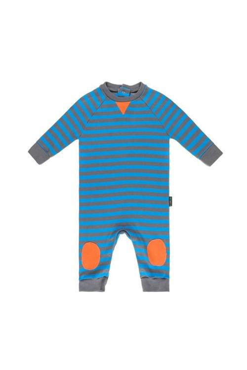 Macacão Bebê Raglan Bicolor P - Azul/cinza