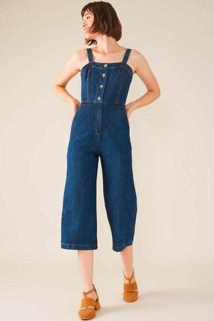 Macacão Cropped Cantão Jeans Vintage - Azul