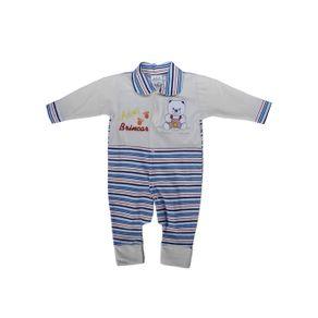 Macacão Infantil para Bebê Menina - Azul Macacão Infantil para Bebê Menina - Bege/azul G