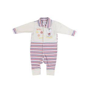 Macacão Infantil para Bebê Menina - Bege/vermelho G