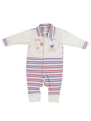 Macacão Infantil para Bebê Menina - Bege/vermelho