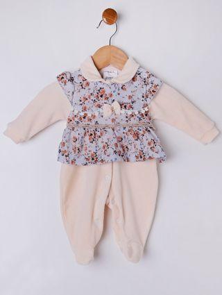 Macacão Infantil para Bebê Menina - Bege