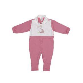 Macacão Infantil para Bebê Menina - Branco/rosa G
