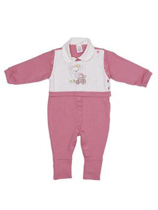 Macacão Infantil para Bebê Menina - Branco/rosa