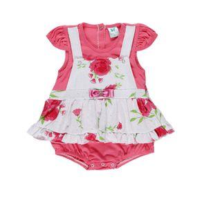 Macacão Infantil para Bebê Menina - Rosa/branco M
