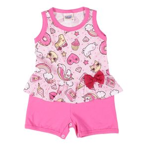 Macacão Infantil para Bebê Menina - Rosa P