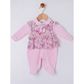 Macacão Infantil para Bebê Menina - Rosa RN