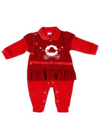 Macacão Infantil para Bebê Menina - Vermelho