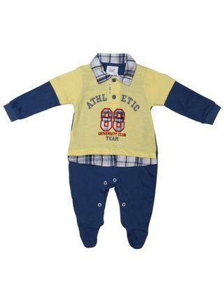Macacão Infantil para Bebê Menino - Amarelo/azul