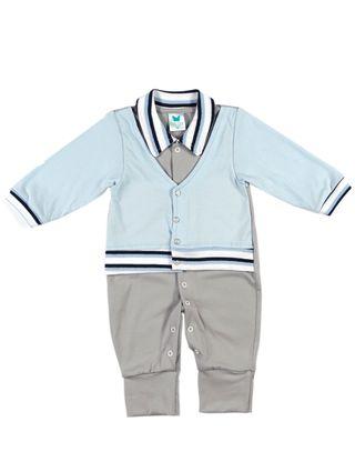 Macacão Infantil para Bebê Menino - Azul/cinza