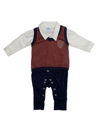 Macacão Infantil para Bebê Menino - Bordô/azul