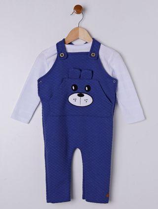 Macacão Infantil para Bebê Menino - Branco/azul