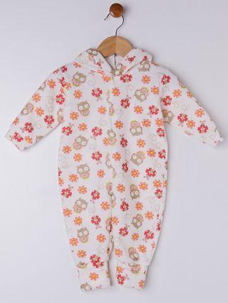 Macacão Infantil para Menina - Bege/laranja