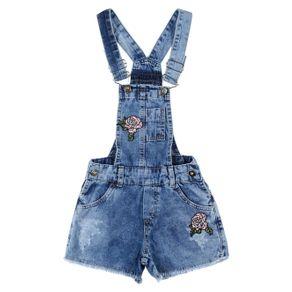 Macacão Jeans Bordado Infantil para Menina - Azul 4