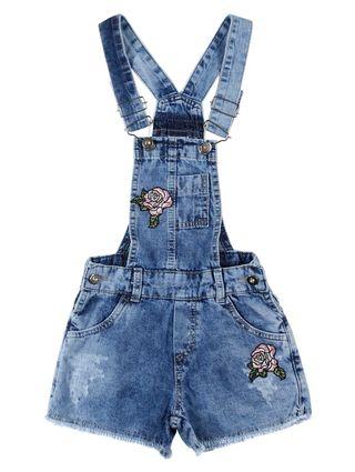 Macacão Jeans Bordado Infantil para Menina - Azul