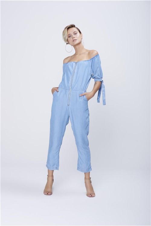 Macacão Jeans Cropped Feminino