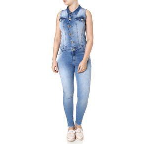 Macacão Jeans Feminino Azul 38
