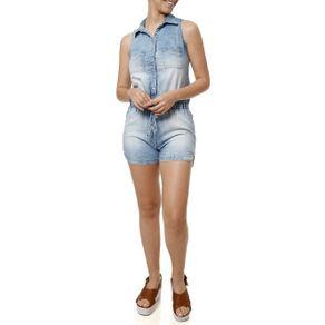Macacão Jeans Feminino Azul P