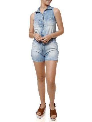 Macacão Jeans Feminino Azul
