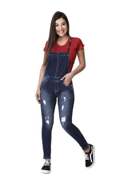 Macacão Jeans Feminino com Suspensório - 261185 36