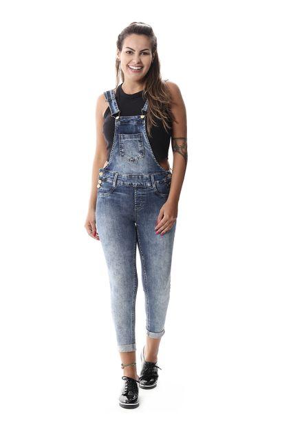 Macacão Jeans Feminino Cropped - 258091 38