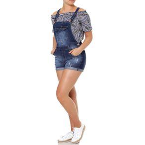 Macacão Jeans Jardineira Feminino Azul 40
