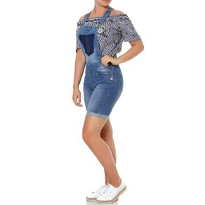 Macacão Jeans Jardineira Feminino Azul 42