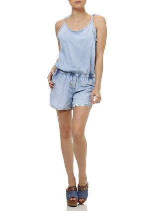 Macacão Jeans Jardineira Feminino Azul
