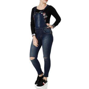 Macacão Jeans Jardineira Feminino Zune Azul P