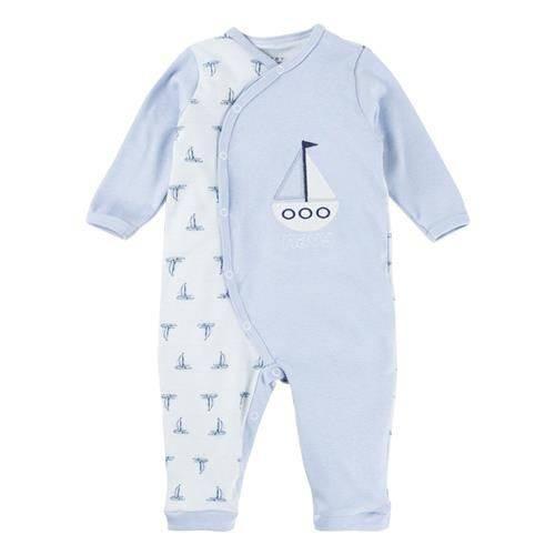Macacão Longo Bebê Menino Suedine Estampado e Bordado Navio Baby Gijo